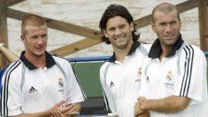Solari, Zidane y Beckham, en su etapa como jugadores del Real Madrid. (Getty)