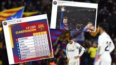 Dos de los tweets del Barcelona tras la victoria en el Clásico.