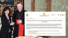 Carmen Calvo con el secretario de Estado del Vaticano y el comunicado difundido este martes