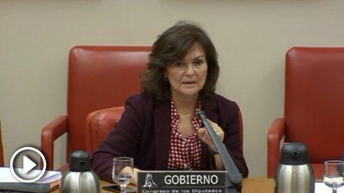 La vicepresidenta del Gobierno, Carmen Calvo, en la Comisión para la Calidad Democrática del Congreso.