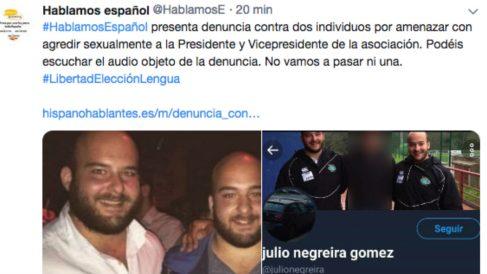 Hablamos Español denuncia a dos hombres por amenazas sexuales contra sus líderes.