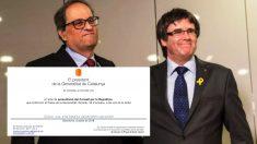 El presidente de la Generalitat, Quim Torra, junto a su antecesor, Carles Puigdemont