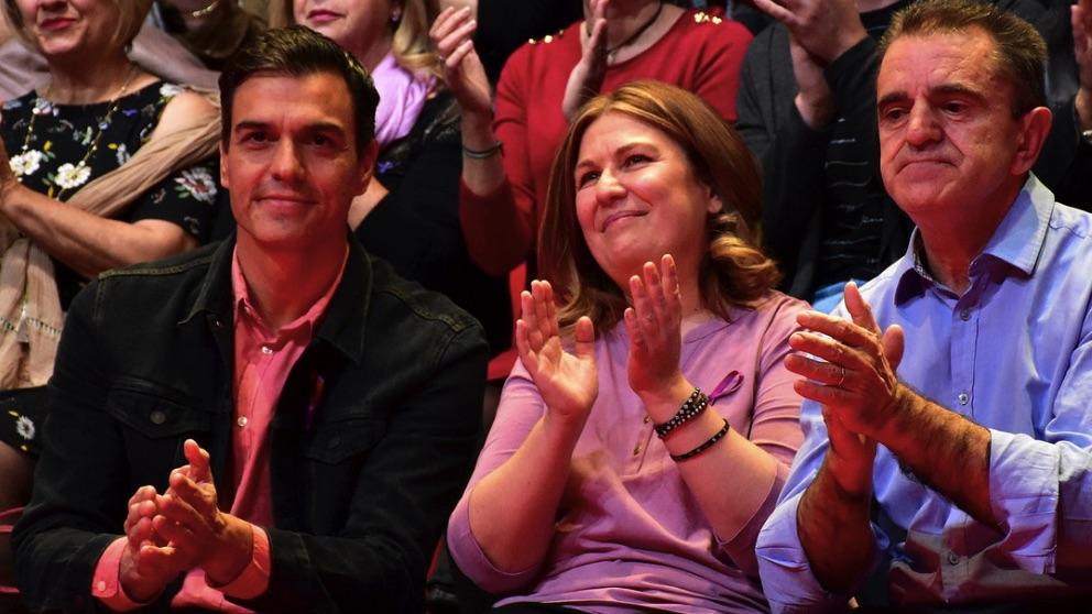 Natalia de Andrés con Pedro Sánchez y José Manuel Franco. (Foto. PSOE PSM)