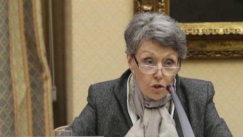 La administradora de RTVE, Rosa María Mateo, este martes en el Congreso de los Diputados