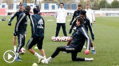Solari, durante su primer entrenamiento con el Real Madrid. (Realmadrid.com)