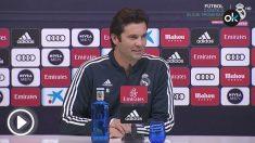 Solario ofreció su primera rueda de prensa como entrenador del Real Madrid.