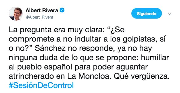 Sánchez elude la petición de Rivera y no rechaza conceder el indulto a los golpistas catalanes