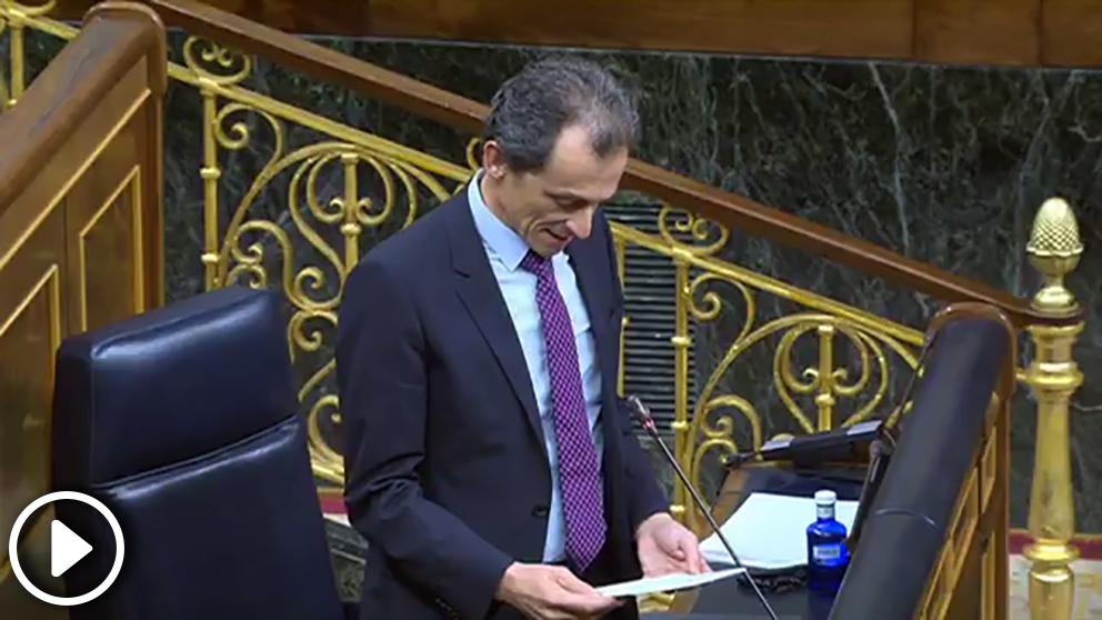 El ministro de Ciencia, Pedro Duque, este miércoles en el Congreso