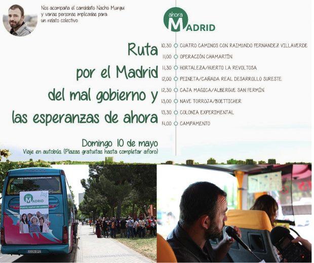 Fotos del día y cartel de convocatoria del autobús. (Fotos. Ahora Madrid)