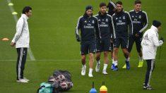 Solari, en el entrenamiento de este martes con el Real Madrid. (EFE)
