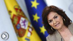 La vicepresidenta del Gobierno, Carmen Calvo, durante la rueda de prensa posterior a la reunión del Consejo de Ministros. (Foto: Efe)