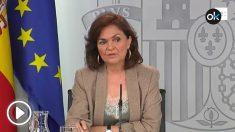 Carmen Calvo contesta sobre la polémica inhumación de los restos de Franco en La Almudena