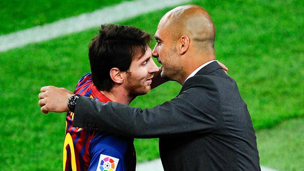 Messi y Guardiola, durante su etapa en el Barcelona. (Getty)