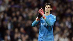 Courtois, durante un partido con el Real Madrid. (AFP)