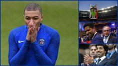 Mbappé, la Champions, Al-Khelaifi y Platini y Al Mansour. (AFP y Getty)