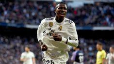Vinicius celebra el 1-0 del Madrid. (EFE)
