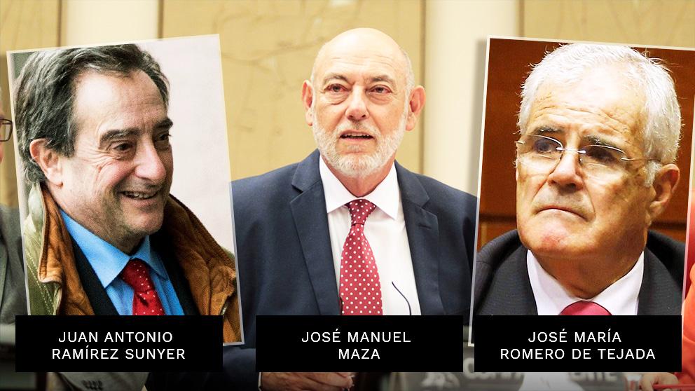 Juan Antonio Ramírez Sunyer, José Manuel Maza y José María Romero de Tejada. Los tres figuras clave en el juicio contra el golpismo catalán y fallecidos en un año.