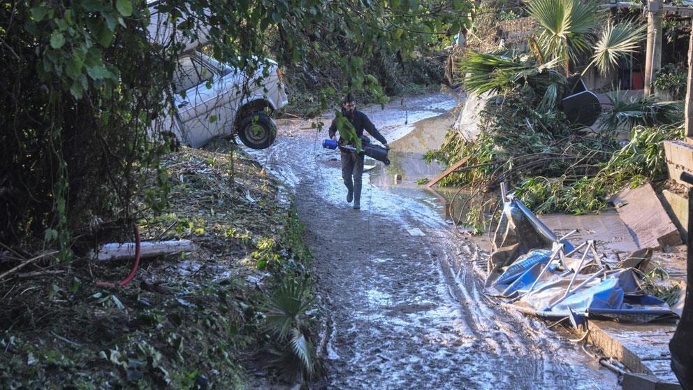 Una de las zonas devastadas por el fuerte temporal en la isla de Sicilia, en Italia. Foto: AFP