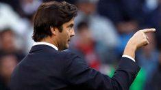 Solari, durante un partido con el Real Madrid. (EFE)