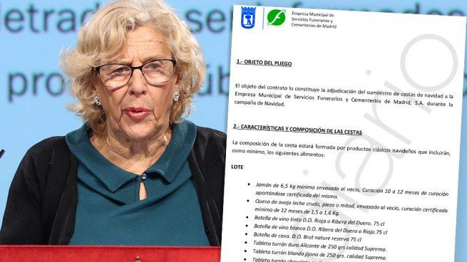 La alcaldesa de Madrid, Manuela Carmena, y el pliego de las cestas de Navidad para la funeraria municipal.