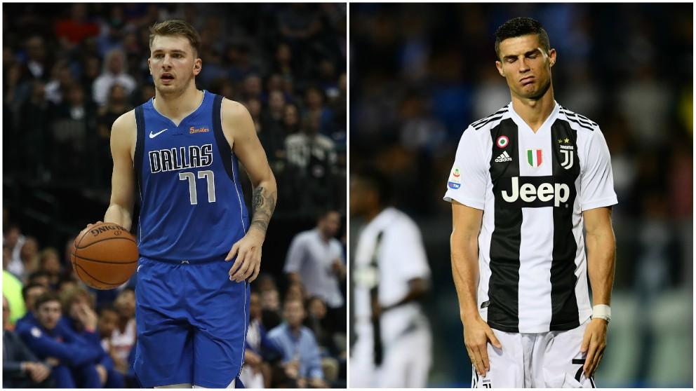 Luka Doncic y Cristiano Ronaldo. (AFP)