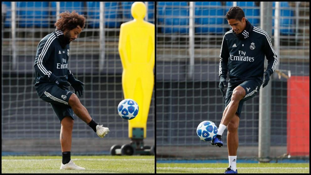Marcelo y Varane, durante un entrenamiento. (Realmadrid.com)