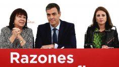 Pedro Sánchez, Cristina Narbona y Adriana Lastra, durante una reunión de la Ejecutiva del PSOE (Foto: Efe)