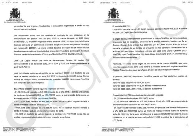 Escrito de la Fiscalía Anticorrupción sobre las cuentas en Suiza de David Marjaliza y José Luis Capita en la trama Púnica.