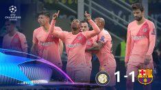 Malcom celebra su primer gol en un partido oficial con el Barcelona.