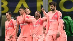 Malcom celebra un gol con el Barce