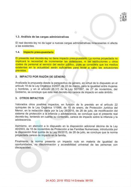 Memoria del análisis de impacto normativo sobre el real decreto par exhumar a Franco. (Fuente: OKDIARIO)