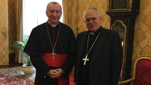 El obispo con Parolin este martes (EP).