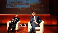 Rivera y Vázquez en La Coruña (EFE).