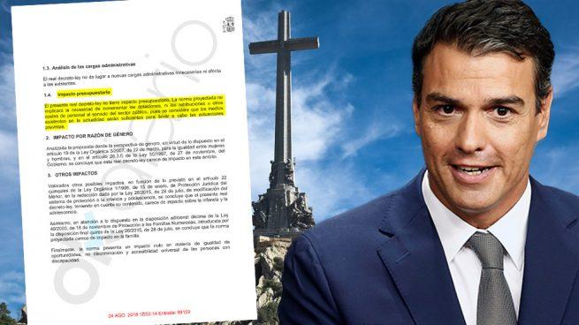Pedro Sánchez y la memoria de impacto del proyecto de ley para la exhumación de Franco.