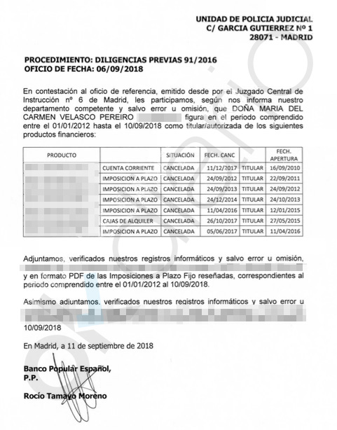 Escrito sobre las cuentas bancarias de la esposa del exdelegado del Gobierno en Ceuta, Luis Vicente Moro.
