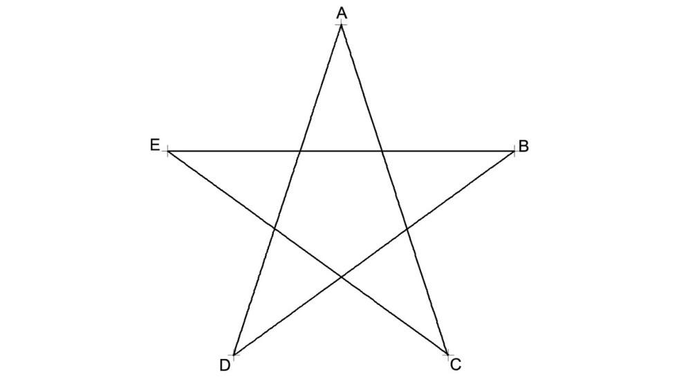 Dibujar una estrella de 5 puntas es muy fácil con un compás
