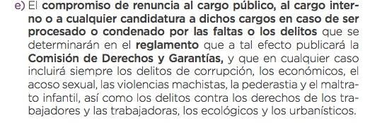 Código ético actual de Podemos