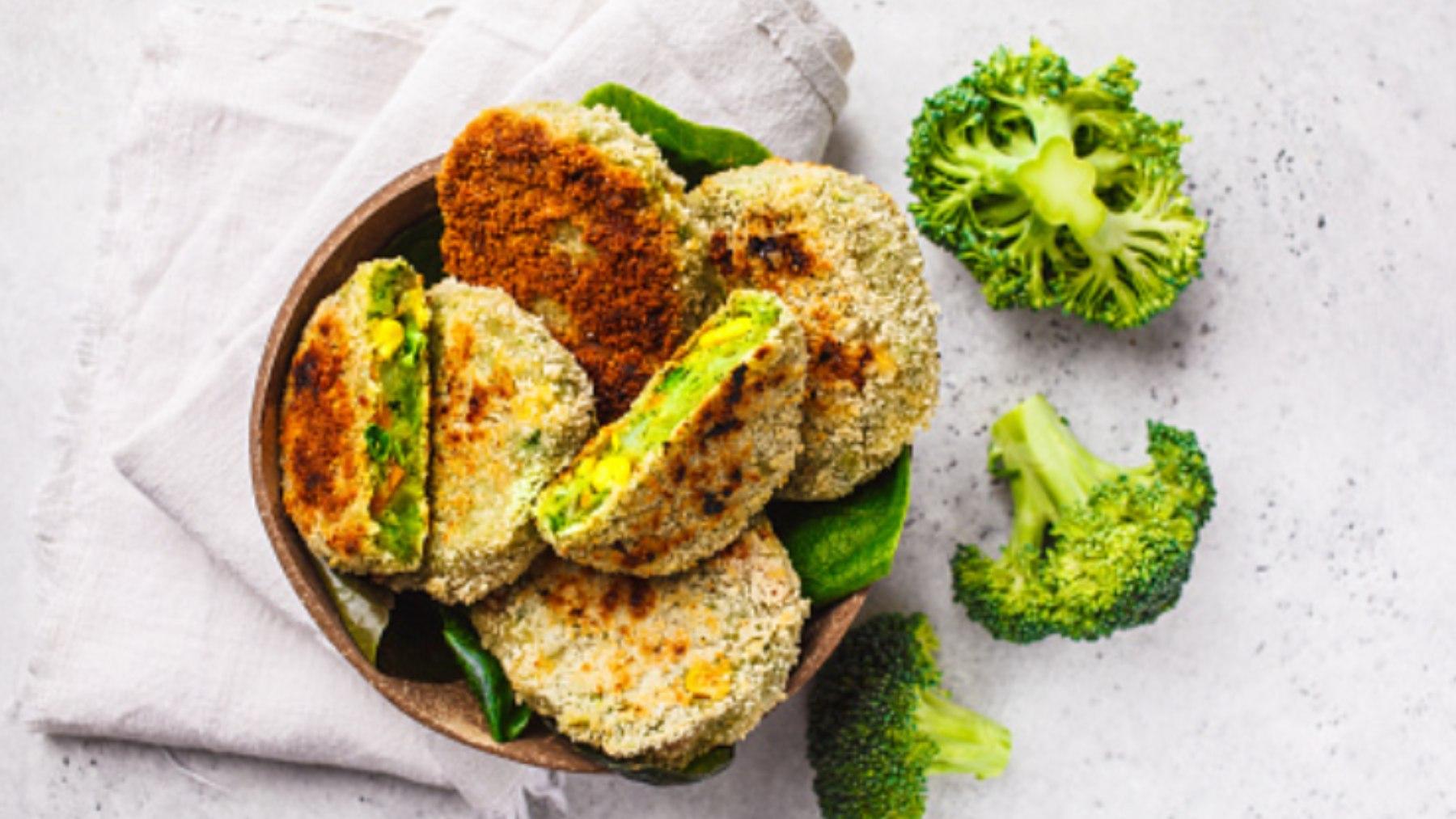 hamburguesa de brócoli y pollo