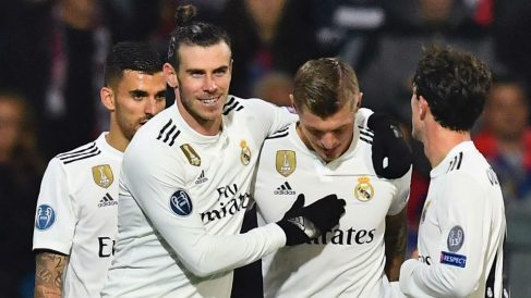 El Real Madrid celebra un gol. (AFP)