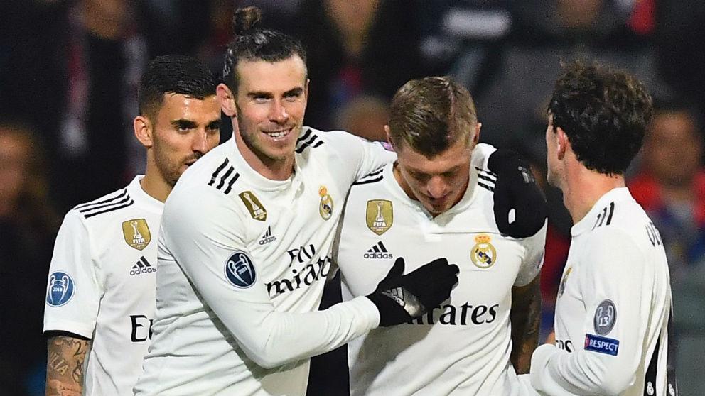 El Real Madrid celebra un gol. (AFP)