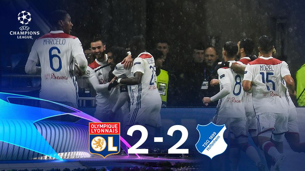 El Hoffenheim salvó un punto en su visita a Lyon. (AFP)