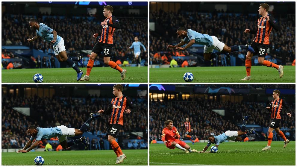 Sterling se cayó tras patear el suelo. (AFP)