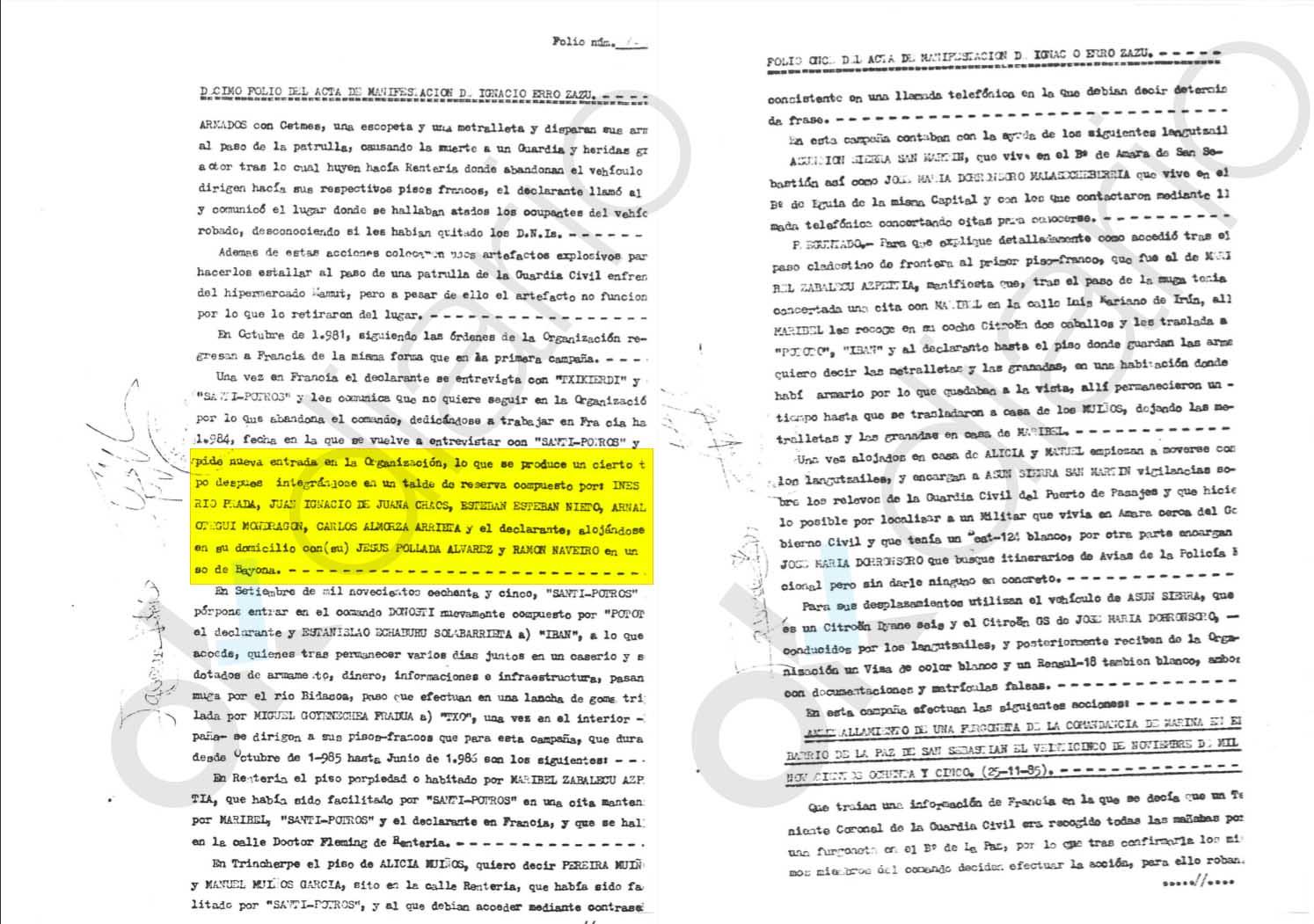 Un etarra confesó que Otegi perteneció a un comando junto a los sanguinarios De Juana Chaos e Inés del Río