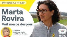 Catalunya Ràdio entrevista este viernes a la fugada Marta Rovira