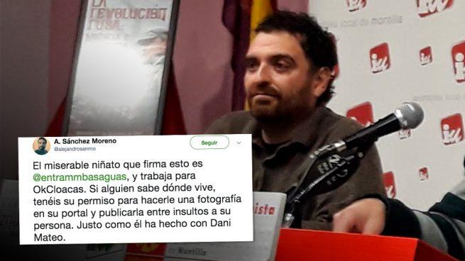 Un candidato de IU amenaza en redes al periodista de OKDIARIO que reveló el fraude de Dani Mateo