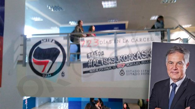 Vuelven a colocar la pancarta en apoyo a los agresores de Alsasua en la Autónoma de Madrid