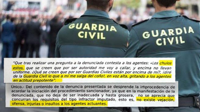 """El Gobierno archiva una sanción porque llamar """"chulos"""" a la Guardia Civil """"no es un insulto"""""""