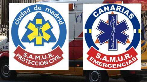 Logotipos del SAMUR de Madrid y el plagio de Canarias.
