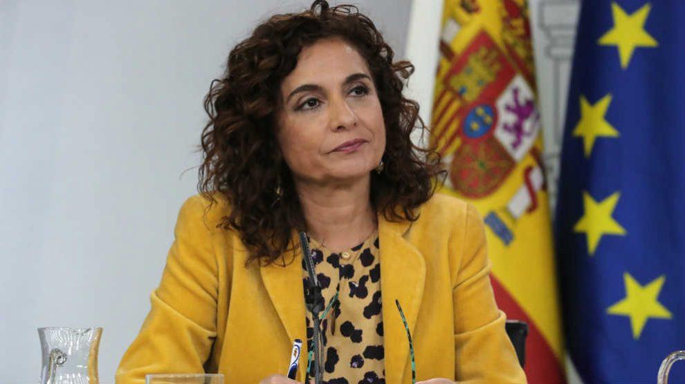 La ministra de Hacienda, María Jesús Montero este jueves en la rueda de prensa tras el Consejo de Ministros