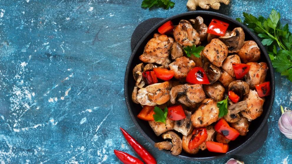 Receta de setas con pollo marinado